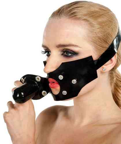 bondage mask with dildo attached