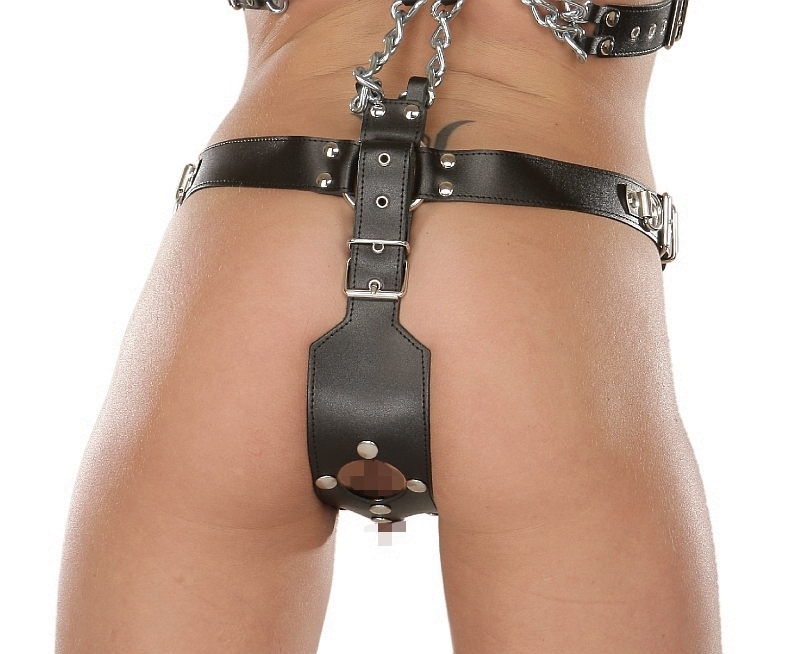 Leather Harness With Dildos